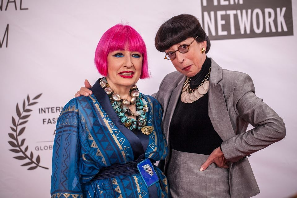 World renowned fashion designer Dame Zandra Rhodes with famed Hollywood costume designer Edith Head