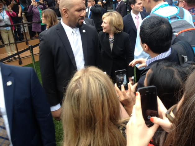 Hillary making her way through the crowd.