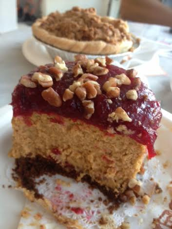 Pumpkin Cheesecake with Cranberry Topping
