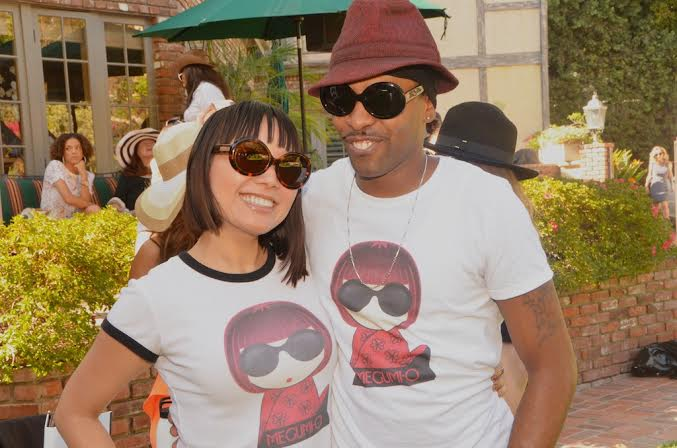 Megumi O poses with musician Derek McKeith in their matching Megumi O t-shirts :)